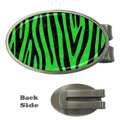 Skin4 Black Marble & Green Colored Pencil Money Clips (oval)