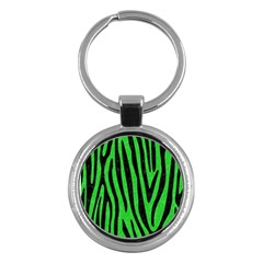 Skin4 Black Marble & Green Colored Pencil Key Chains (round)