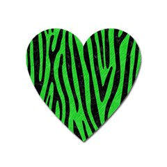 Skin4 Black Marble & Green Colored Pencil Heart Magnet