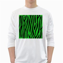 Skin4 Black Marble & Green Colored Pencil White Long Sleeve T Shirts