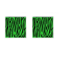 Skin4 Black Marble & Green Colored Pencil Cufflinks (square)