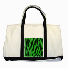 Skin4 Black Marble & Green Colored Pencil Two Tone Tote Bag