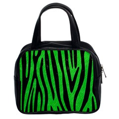 Skin4 Black Marble & Green Colored Pencil Classic Handbags (2 Sides)