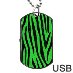 Skin4 Black Marble & Green Colored Pencil Dog Tag Usb Flash (one Side)