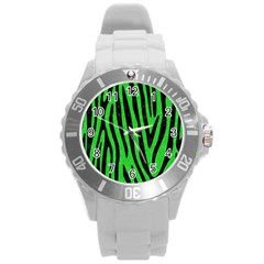 Skin4 Black Marble & Green Colored Pencil Round Plastic Sport Watch (l)