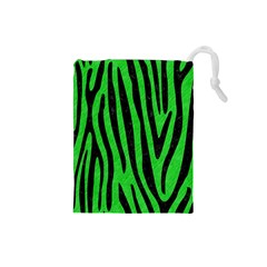 Skin4 Black Marble & Green Colored Pencil Drawstring Pouches (small)
