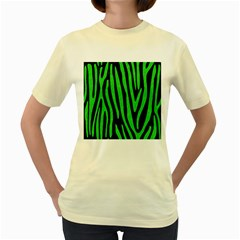 Skin4 Black Marble & Green Colored Pencil (r) Women s Yellow T Shirt