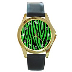 Skin4 Black Marble & Green Colored Pencil (r) Round Gold Metal Watch