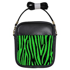 Skin4 Black Marble & Green Colored Pencil (r) Girls Sling Bags