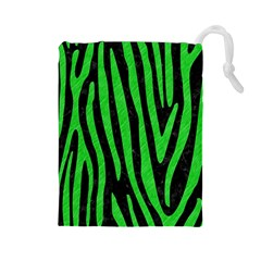 Skin4 Black Marble & Green Colored Pencil (r) Drawstring Pouches (large)