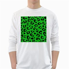 Skin5 Black Marble & Green Colored Pencil White Long Sleeve T Shirts