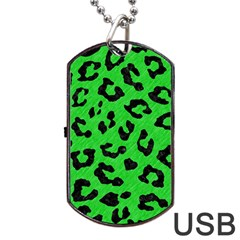 Skin5 Black Marble & Green Colored Pencil Dog Tag Usb Flash (two Sides)