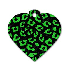 Skin5 Black Marble & Green Colored Pencil (r) Dog Tag Heart (one Side)