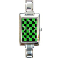 Square1 Black Marble & Green Colored Pencil Rectangle Italian Charm Watch