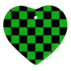 Square1 Black Marble & Green Colored Pencil Ornament (heart)
