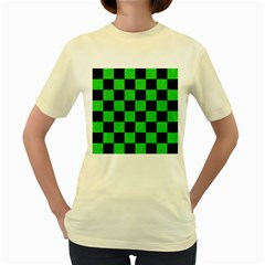 Square1 Black Marble & Green Colored Pencil Women s Yellow T Shirt