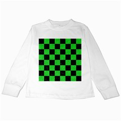 Square1 Black Marble & Green Colored Pencil Kids Long Sleeve T Shirts