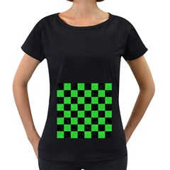 Square1 Black Marble & Green Colored Pencil Women s Loose Fit T Shirt (black)