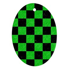 Square1 Black Marble & Green Colored Pencil Oval Ornament (two Sides)