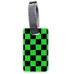 Square1 Black Marble & Green Colored Pencil Luggage Tags (two Sides)