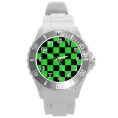 Square1 Black Marble & Green Colored Pencil Round Plastic Sport Watch (l)