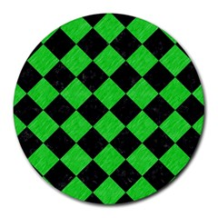 Square2 Black Marble & Green Colored Pencil Round Mousepads