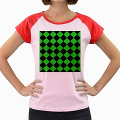 Square2 Black Marble & Green Colored Pencil Women s Cap Sleeve T Shirt
