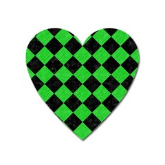 Square2 Black Marble & Green Colored Pencil Heart Magnet