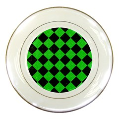 Square2 Black Marble & Green Colored Pencil Porcelain Plates