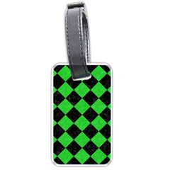 Square2 Black Marble & Green Colored Pencil Luggage Tags (one Side)