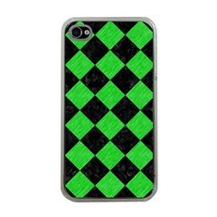 Square2 Black Marble & Green Colored Pencil Apple Iphone 4 Case (clear)