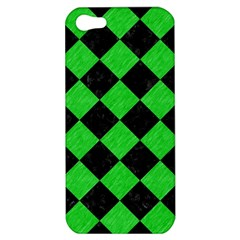 Square2 Black Marble & Green Colored Pencil Apple Iphone 5 Hardshell Case