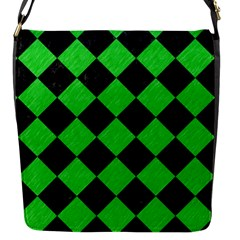 Square2 Black Marble & Green Colored Pencil Flap Messenger Bag (s)