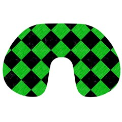 Square2 Black Marble & Green Colored Pencil Travel Neck Pillows