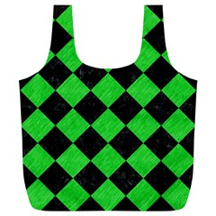 Square2 Black Marble & Green Colored Pencil Full Print Recycle Bags (l)