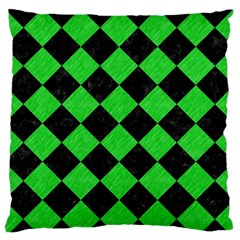 Square2 Black Marble & Green Colored Pencil Standard Flano Cushion Case (one Side)