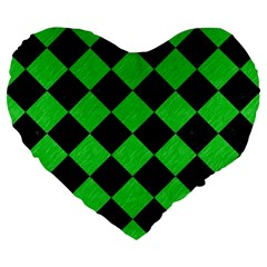 Square2 Black Marble & Green Colored Pencil Large 19  Premium Flano Heart Shape Cushions