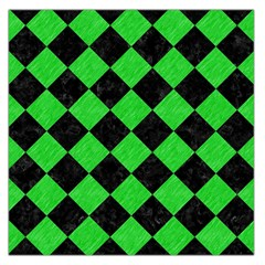 Square2 Black Marble & Green Colored Pencil Large Satin Scarf (square)
