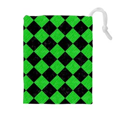 Square2 Black Marble & Green Colored Pencil Drawstring Pouches (extra Large)