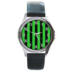 Stripes1 Black Marble & Green Colored Pencil Round Metal Watch