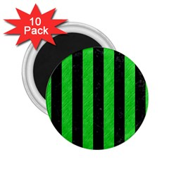 Stripes1 Black Marble & Green Colored Pencil 2 25  Magnets (10 Pack)