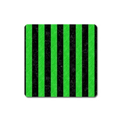 Stripes1 Black Marble & Green Colored Pencil Square Magnet