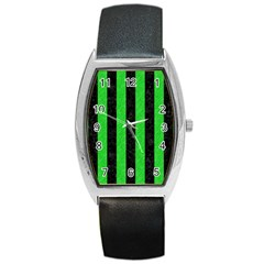 Stripes1 Black Marble & Green Colored Pencil Barrel Style Metal Watch