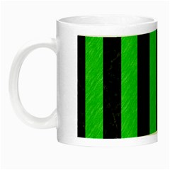Stripes1 Black Marble & Green Colored Pencil Night Luminous Mugs
