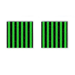 Stripes1 Black Marble & Green Colored Pencil Cufflinks (square)