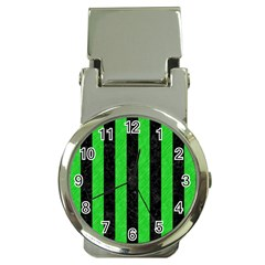 Stripes1 Black Marble & Green Colored Pencil Money Clip Watches