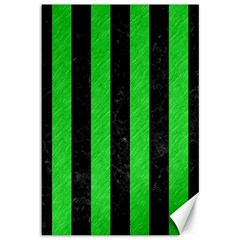 Stripes1 Black Marble & Green Colored Pencil Canvas 12  X 18