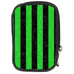 Stripes1 Black Marble & Green Colored Pencil Compact Camera Cases