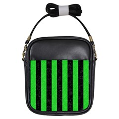 Stripes1 Black Marble & Green Colored Pencil Girls Sling Bags