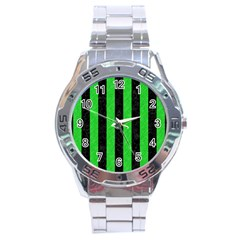 Stripes1 Black Marble & Green Colored Pencil Stainless Steel Analogue Watch
